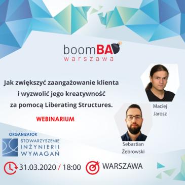boomBA #15 – Jak zwiększyć zaangażowanie klienta podczas warsztatów i wyzwolić jego kreatywność za pomocą Liberating Structures
