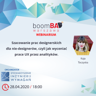 boomBA #17 (WEBINARIUM) – Szacowanie prac designerskich dla nie-designerów, czyli jak wyceniać prace UX przez analityków
