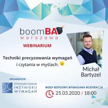 """boomBA #20 (WEBINARIUM) – """"Techniki precyzowania wymagań i czytania w myślach :)"""""""